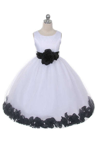 Ashley Dress with Black Petals and Sash