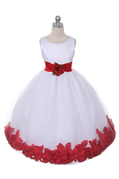 Ashley Dress with Red Petals and Sash