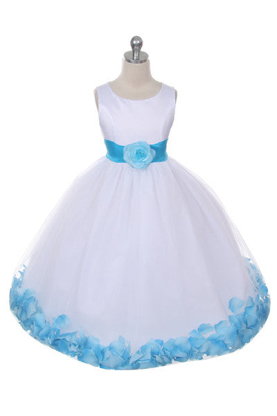 Ashley Dress with Turquoise Petals and Sash