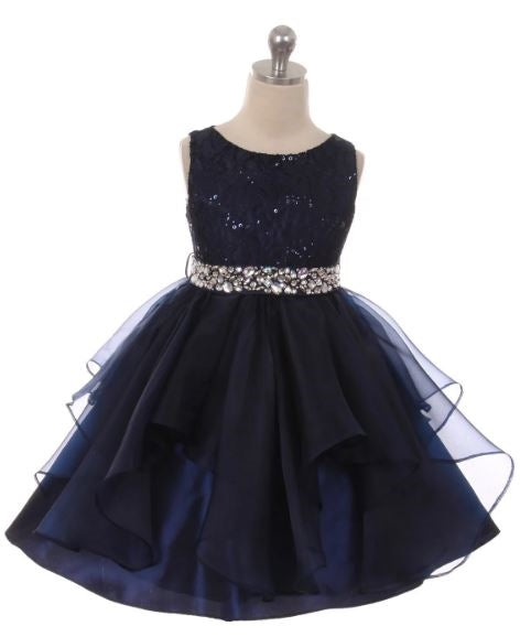 Couture Diamond design dress in Navy Blue