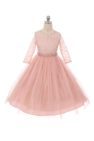 Couture Diamond design dress 3/4 lace sleeve in Blush Pink