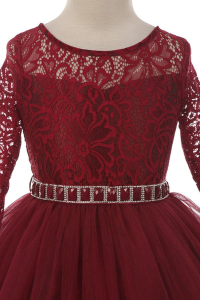 Couture Diamond design dress 3/4 lace sleeve in Burgundy
