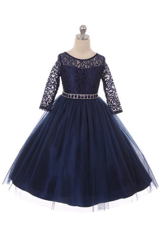 Couture Diamond design dress 3/4 lace sleeve in Navy Blue