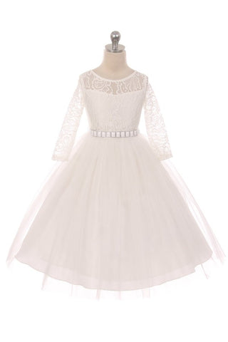 Couture Diamond design dress 3/4 lace sleeve in Off White