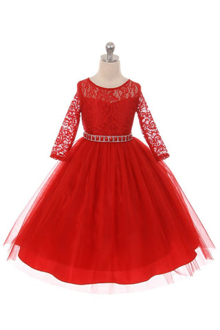 Couture Diamond design dress 3/4 lace sleeve in Red