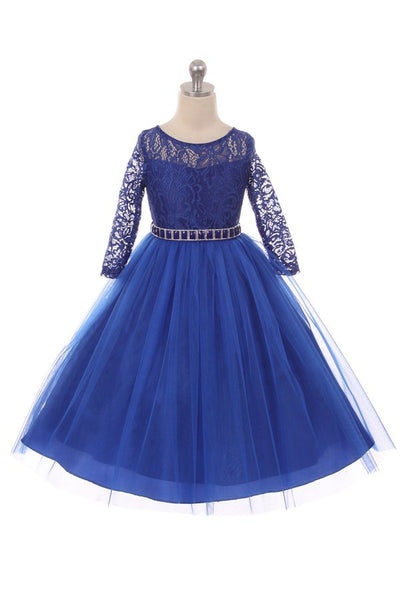 Couture Diamond design dress 3/4 lace sleeve in Royal Blue