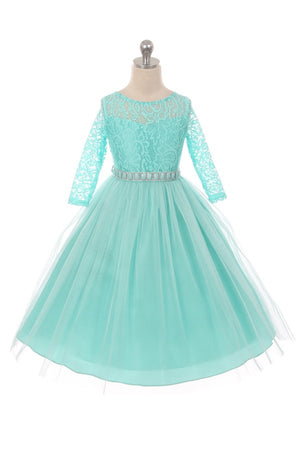 Couture Diamond design dress 3/4 lace sleeve in Tiffany Blue