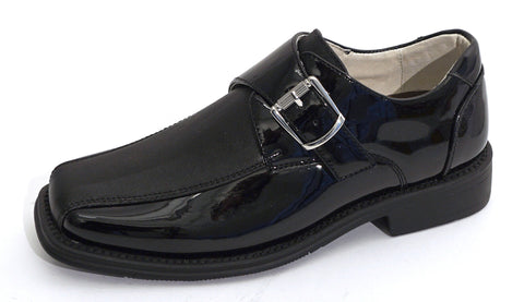 Boys Black and Satin Tuxedo Shoes