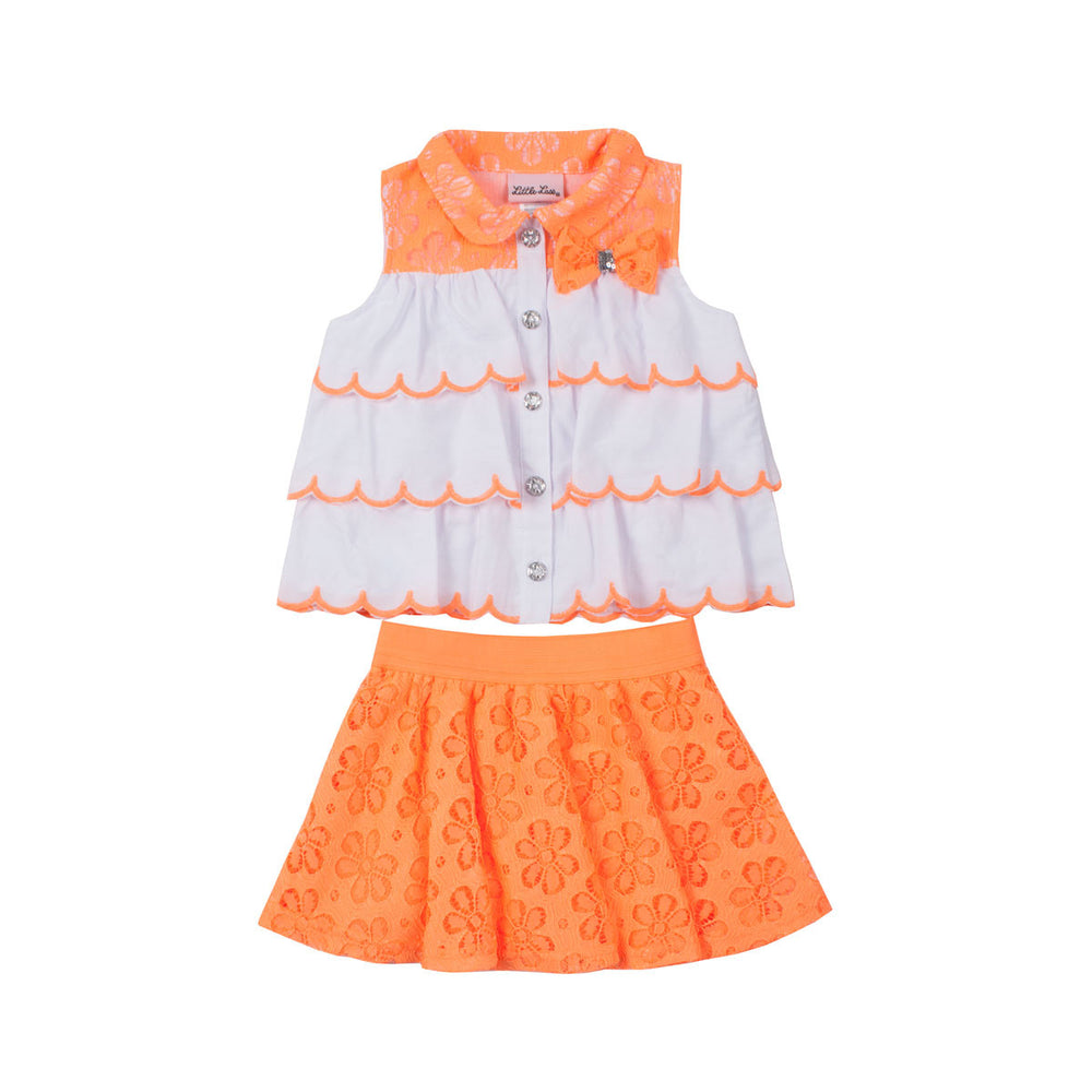 White and Orange Skirt Set