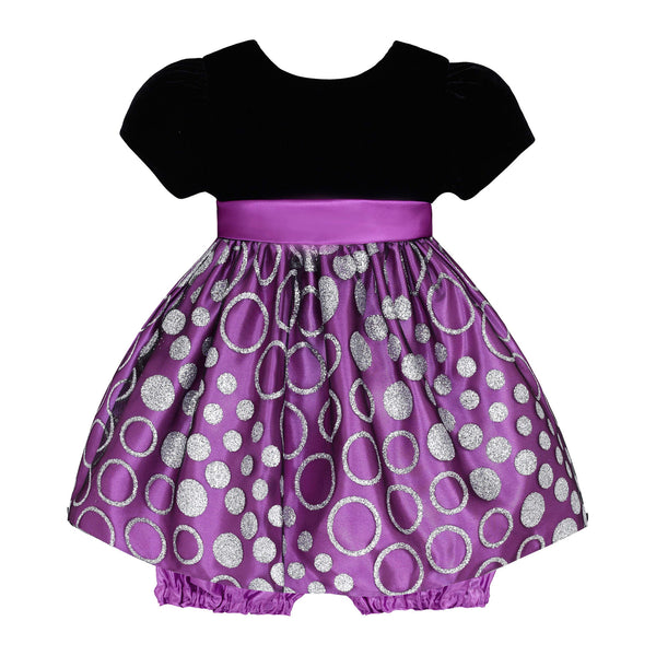 Baby Dress in Pretty Purple and Silver