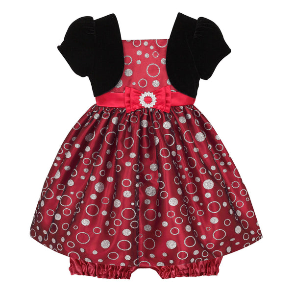 Baby Dress in Holiday Red with Black Bolero