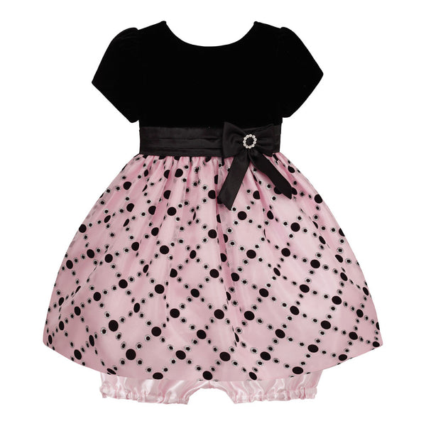 Baby Dress in Ice Pink and Black