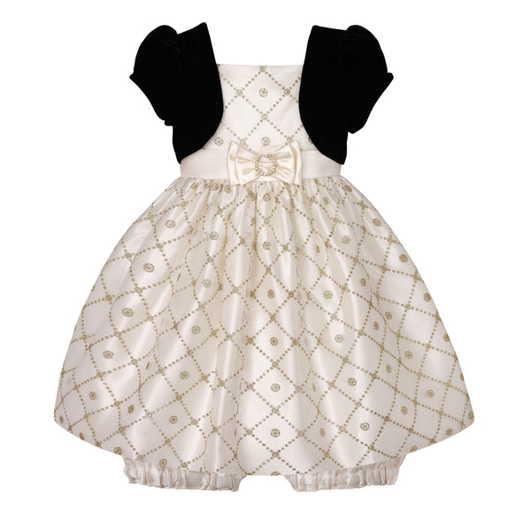 Baby Dress in Candlelight Gold with Black Balero
