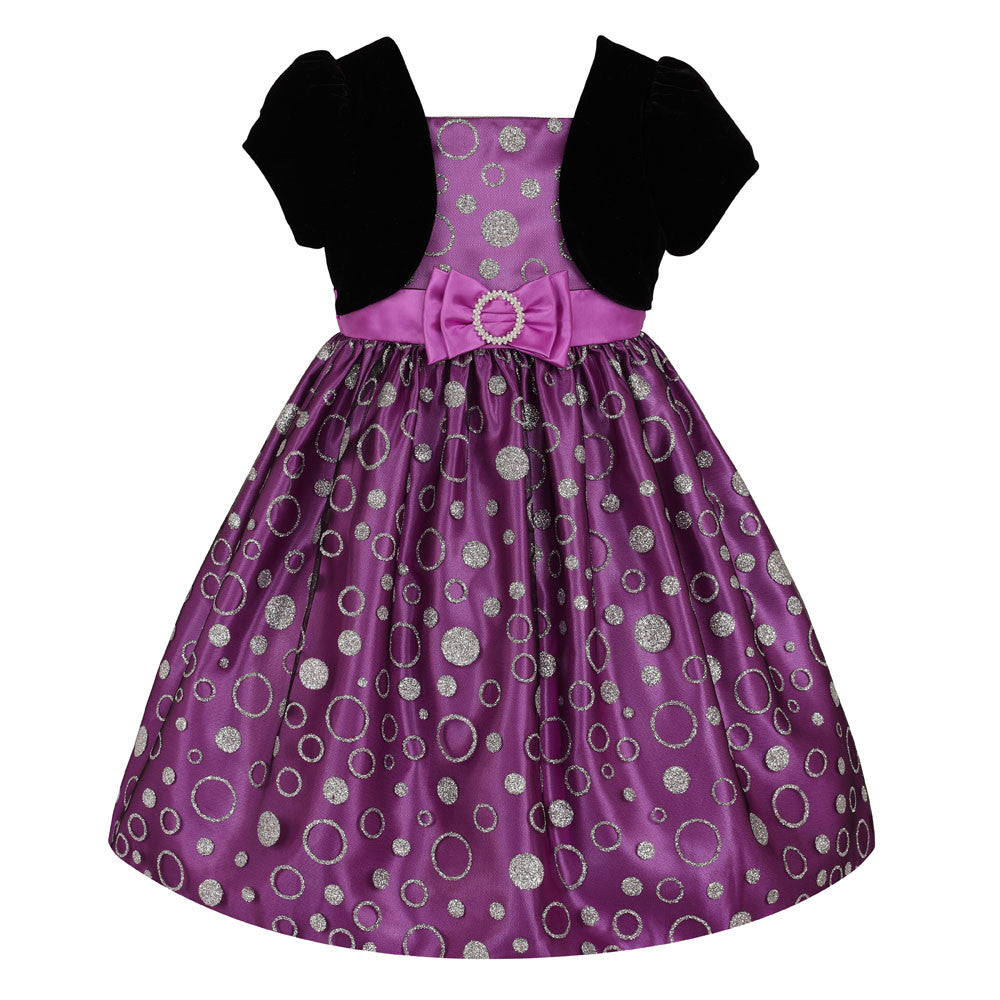 Girls Dress in Purple and Silver with Black Bolero