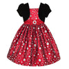 Girls Dress in Red and Silver with Black Balero
