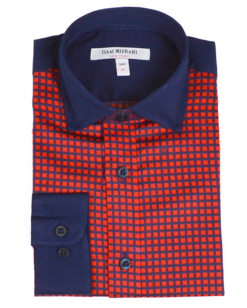 Designer Red and Blue Plaid Dress Shirts