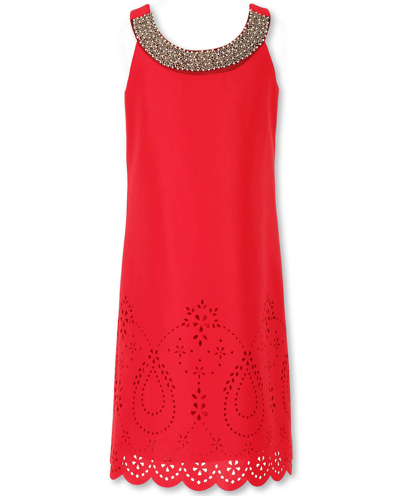 Designer Sequence Dress in Ruby Red