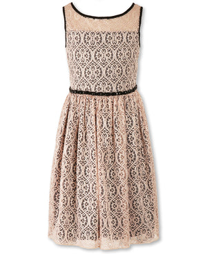 Paparazzi Designer Lace Pleated Dress in Pink and Black