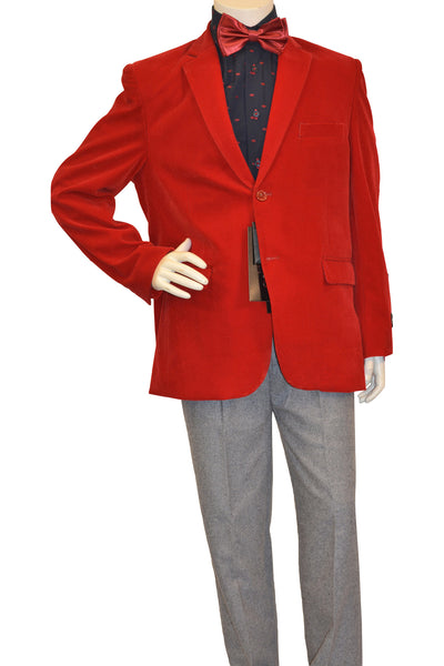 Ronaldo Boys Designer Single-Breasted Red Velvet Blazer Jacket