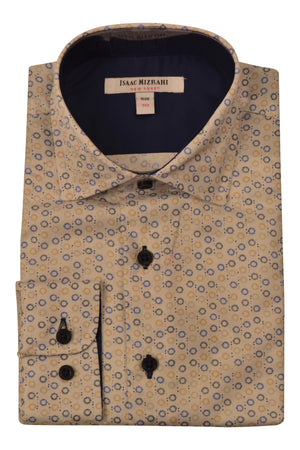 Designer White with Blue and Brown Print Dress Shirts