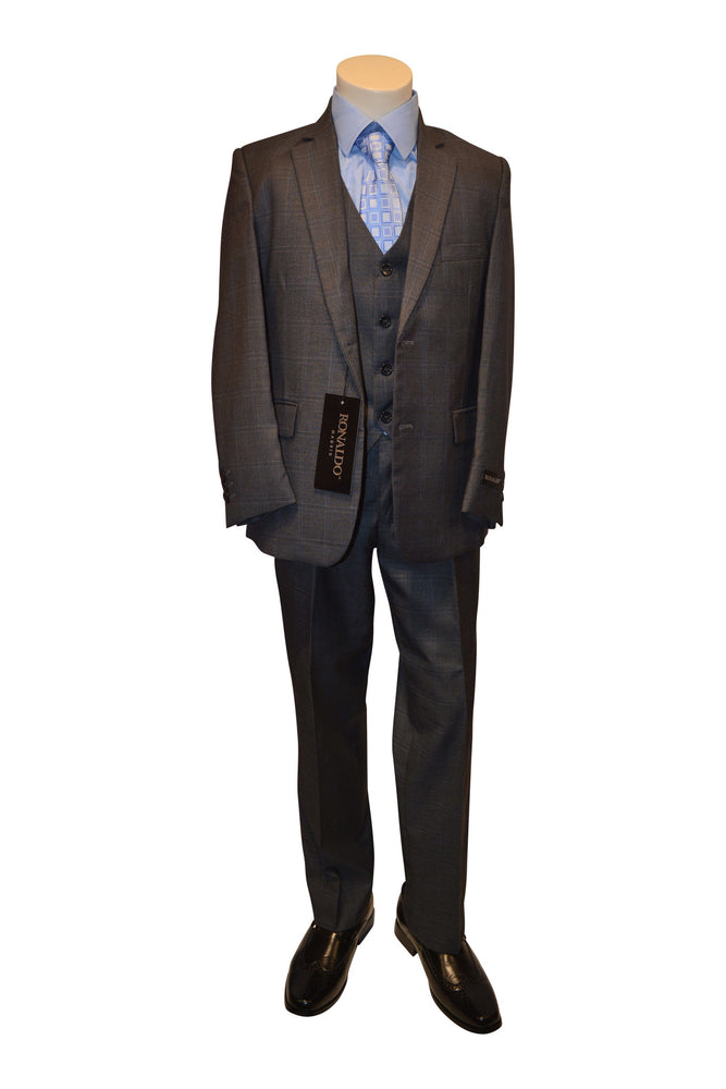 Ronaldo Charcoal Grey Plaid 5 pc Suit