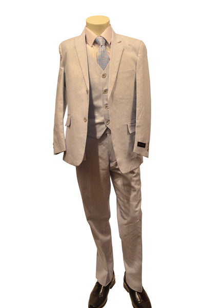 Ronaldo Powder Blue Linen 5 pc Suit