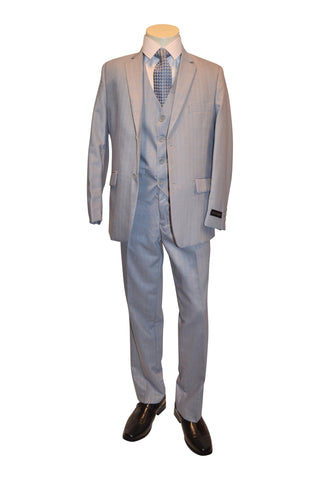 Ronaldo Light Grey Pinstripe 5 pcs Suit