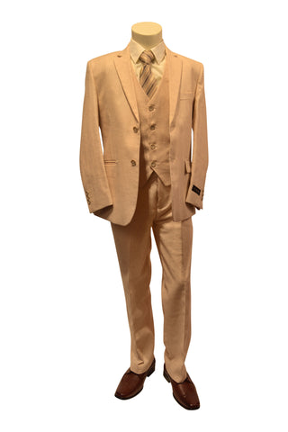 Ronaldo Light Tan Linen  5 pcs Suit