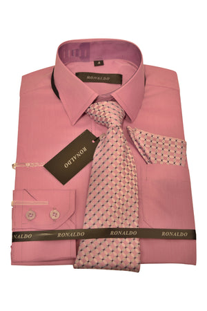 Ronaldo 3pc Light Plum Shirt Set