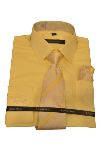 Ronaldo 3pc Soft Yellow Shirt Set