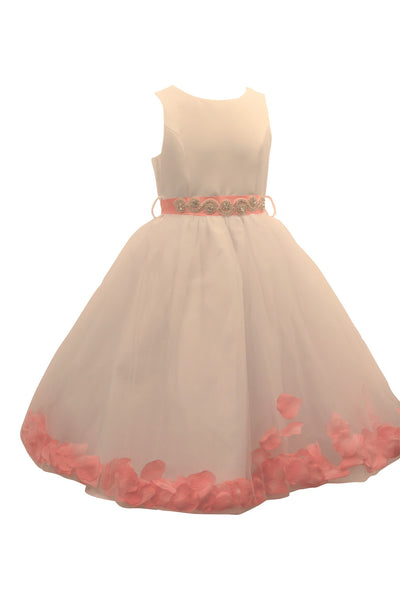 Ashley Dress with Coral Petals and Diamond Crusted Ribbon
