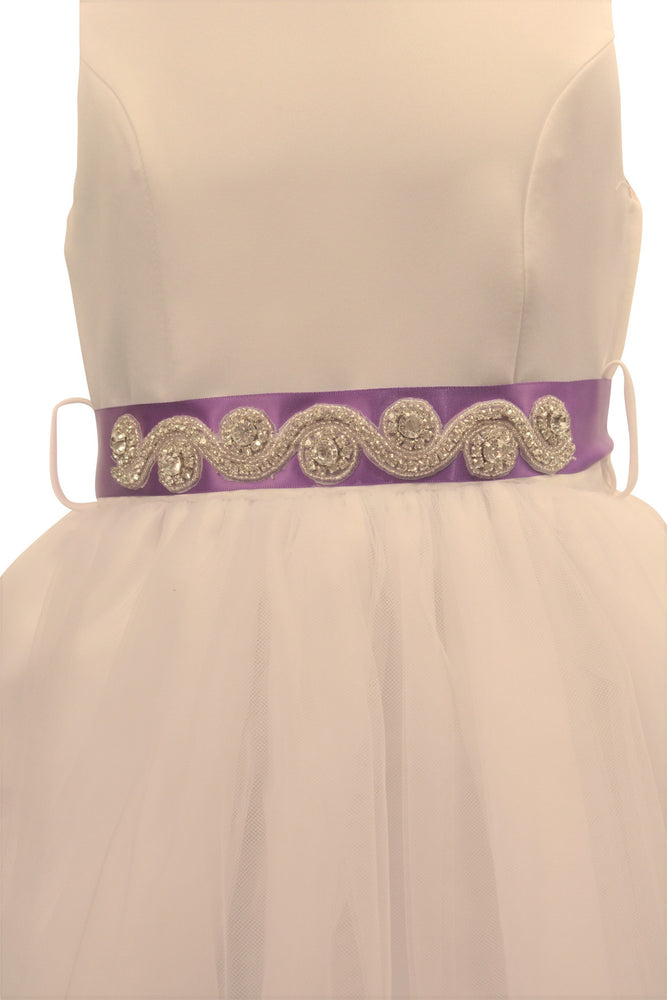 Ashley Dress with Deep Purple Petals and Diamond Crusted Ribbon