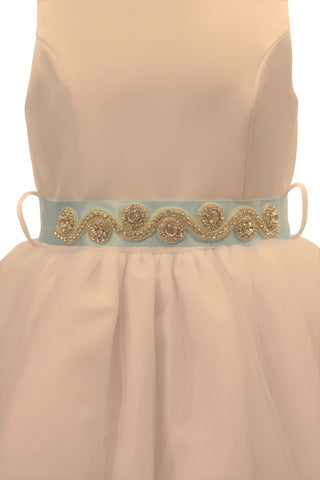 Ashley Dress with Sky Blue Petals and Diamond Crusted Ribbon