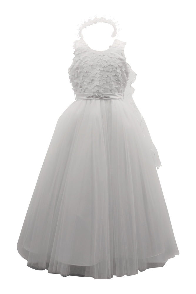 Paparazzi White Designer Flower Bud Bodice With Tulle Skirt