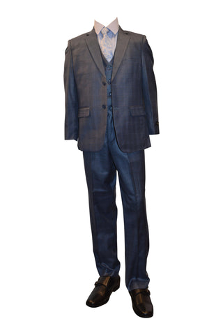 Ronaldo Zinc Blue Plaid 5 pcs Suit