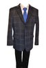 Ronaldo Boys Designer Single-Breasted Navy Blue Plaid Velvet Blazer Jacket