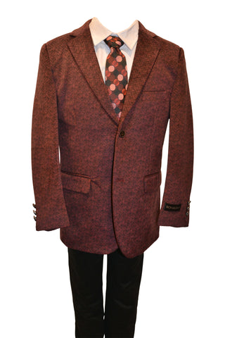 Ronaldo Boys Designer Single-Breasted Burgandy Velvet Blazer Jacket
