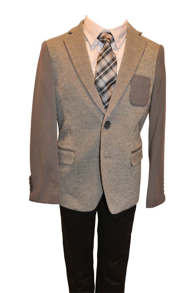 Boys Designer Single-Breasted Grey on Grey Tone Blazer Jacket