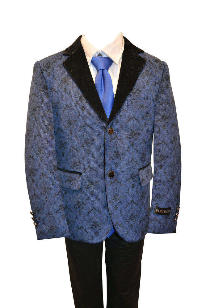 Ronaldo Boys Designer Single-Breasted Turquoise and Black Lapel Velvet Blazer Jacket