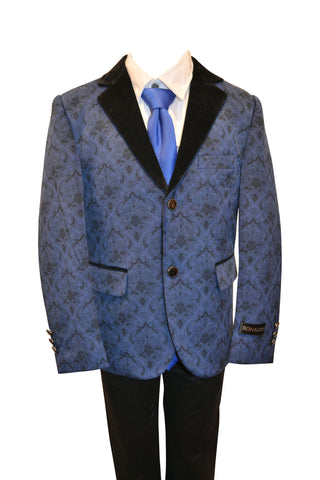 Ronaldo Boys Designer Single-Breasted Turquoise and Black Lepal Velvet Blazer Jacket