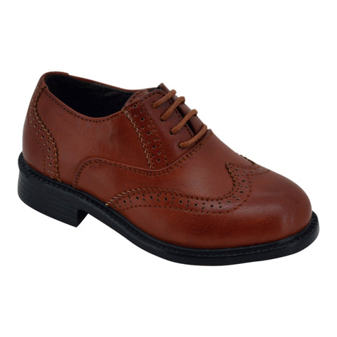 Boys Classic Tan Wing Tips Lace Loafers