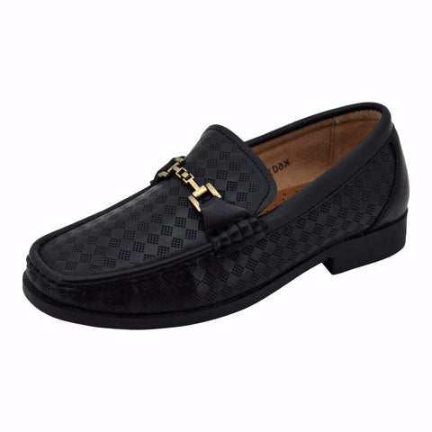 Boys Classic Black with Gold Accent Loafers