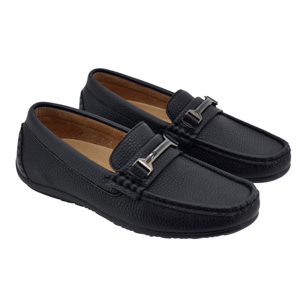 Boys Black H  Loafers