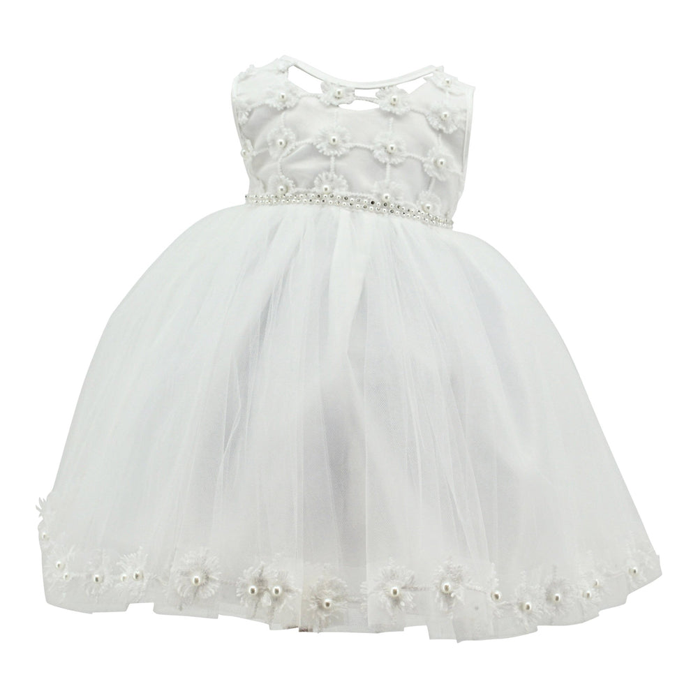 Baby Girls Paparazzi Christening Dress With Silver