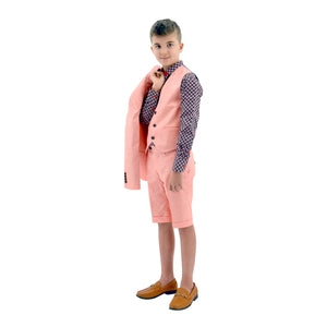 Ronaldo Salmon Pink 3pc Skinny Designer Suit With Shorts