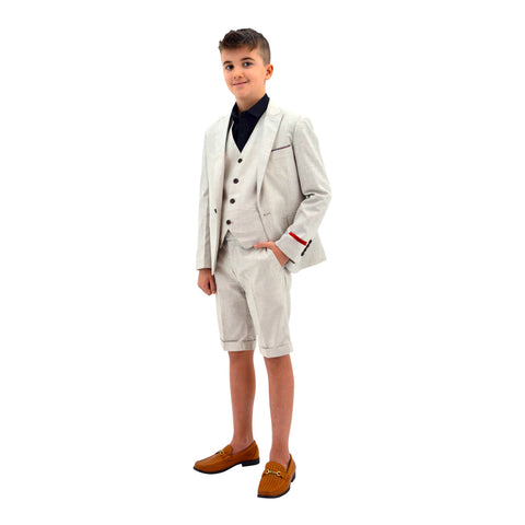 Ronaldo State Grey 3pc Skinny Designer Suit With Shorts