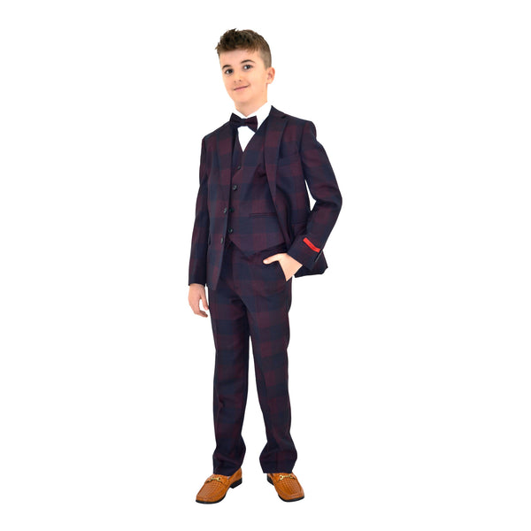 Ronaldo Purple Blue Plaid Designer Skinny Grad  5 pc Suit