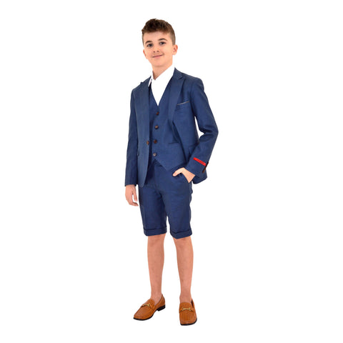 Ronaldo NavyBlue 3pc Skinny Designer Suit With Shorts