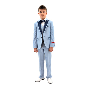 Ronaldo Sea Blue Designer Skinny Grad  5 pc Suit
