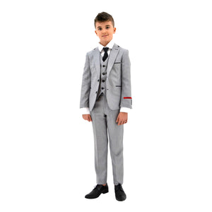 Ronaldo Grey Textured Designer Skinny Grad  5 pc Suit